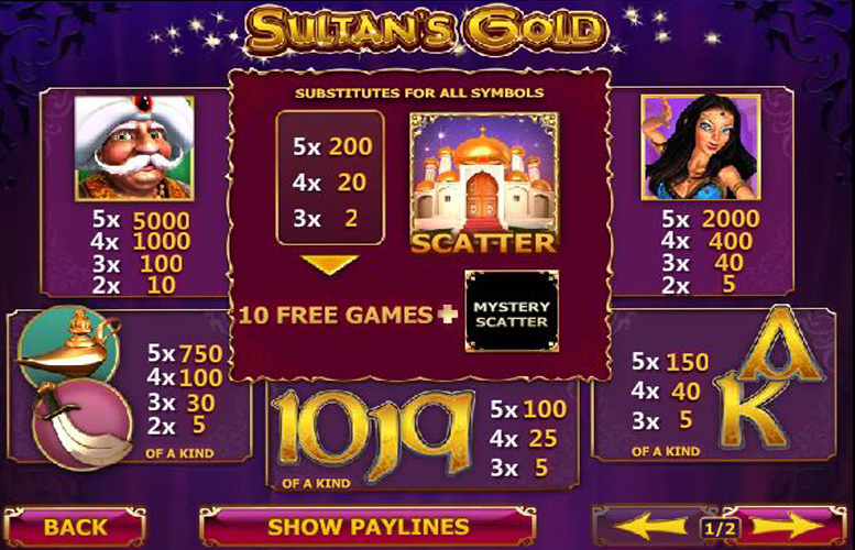 Sultan's Gold Slot Machine - Play Playtech's Sultan's Gold