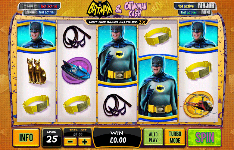 There are four progressive bonuses on offer – the Grand, the Major, the Minor and the Mini.The Grand Jackpot is a potentially life changing one.When this game is randomly activated you'll enter a pick me round, where each pick reveals a colour related to the four jackpots.Cats, Masks and Whips – Batman and Catwoman Cash Design.